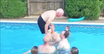 79-Year-Old Grandpa Does Backflip In Pool