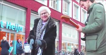 Granny Dances To Street Performer