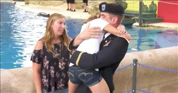 Military Dad Homecoming Surprise At Dolphin Show