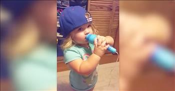 Cute 2-Year-Old Sings The National Anthem