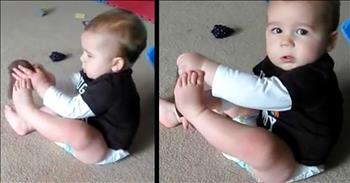 Funny Baby Tries To Put Sock On