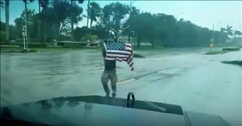 First Responder Saves Flag During Hurricane