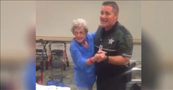Deputy Dances With Elderly Woman During Storm