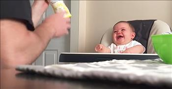 Baby Cannot Stop Laughing After Dad Keeps Dropping Stuff