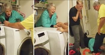 Grandma Hilariously Gets Stuck Behind Dryer