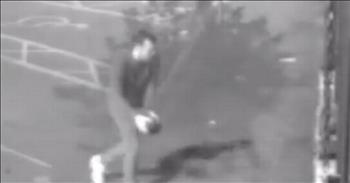 Man Caught On Camera Cleaning Shop After Vandalism