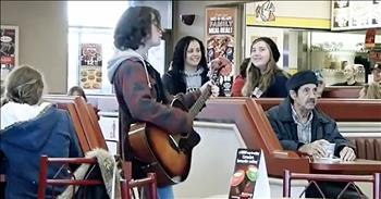 Christmas Flash Mob At Coffee Shop