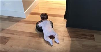 Baby Rides On A Roomba