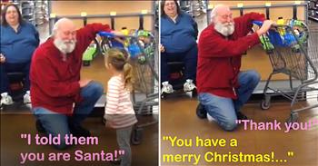 Sweet Girl Finds Santa Shopping At Walmart