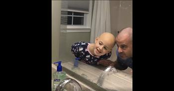 Dad Shaves Head For Daughter Without Hair