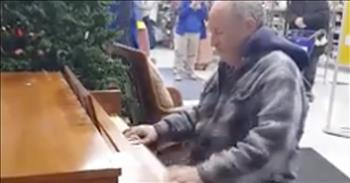 Talented Man Plays Piano In Goodwill Store