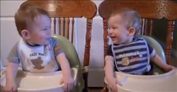 Twin Babies Make Each Other Laugh At Dinner