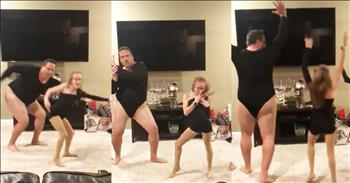 Funny Dad Dances In Bodysuit With 2 Daughters