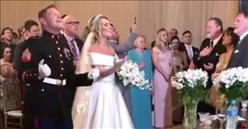 Marine And Bride Worship The Lord During Wedding