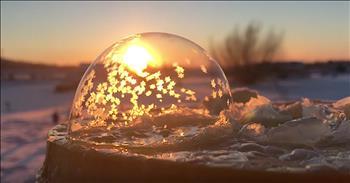 Frozen Bubbles Look Like Snow Globes