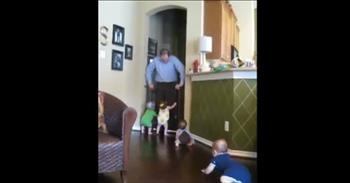 Quadruplets Greet Their Dad In The Best Way