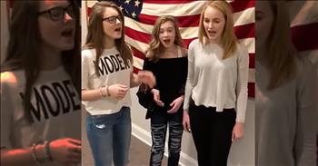 3 Girls Sing A Cappella Rendition Of The National Anthem