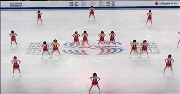 16 Girls Perform Synchronized Ice Skating Routine