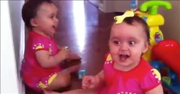 Twins Cannot Stop Laughing At Family Dog