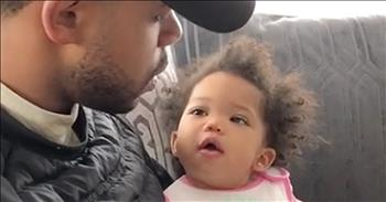 Daddy Helps Teach Baby Girl Manners