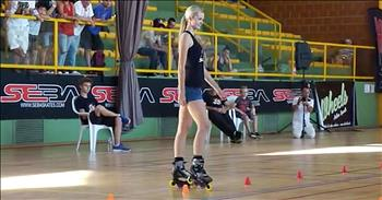Skating Champion Impresses With Unique Moves