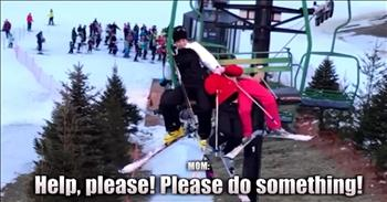Mother Clings To Girls Dangling From Ski Lift