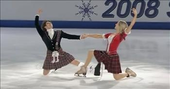 Brother-Sister Ice Skating Routine With Scottish Dance