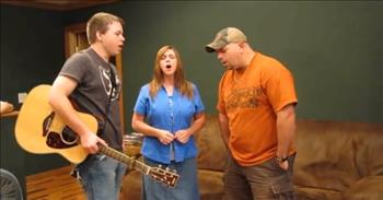 Three People Stand in Their Living Room And Worship - A Cappella 'There Is A Fountain'
