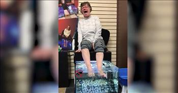 Elderly Woman Has Funny Reaction To Fish Spa