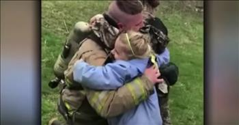 Soldier Surprises Daughters With A Firefighter Homecoming