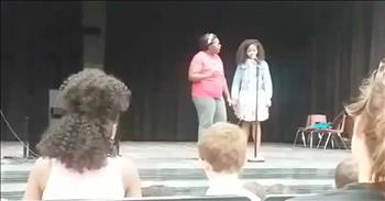 Mom Saves Daughter After Stage Fright During Talent Show
