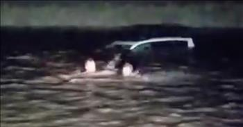 Brothers Save Woman Trapped In Sinking Car