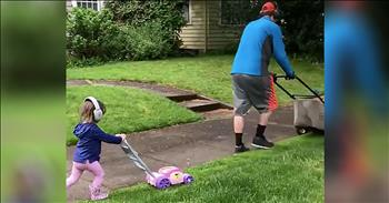 Father-Daughter Lawn Mowing Is Too Cute