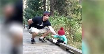 Dad Skills Kick In When Baby Girl Starts To Fall