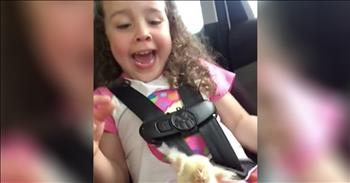 Little Girl Hilariously Reacts To Baby Chicken