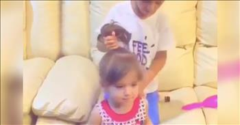 Sweet Brother Helps Style His Sister's Hair