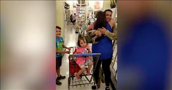 Soldier Surprises Sister In Store After Year Away