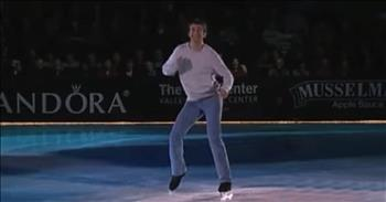 Ice Skater Performs To Classic Song 'Footloose'