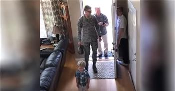 Middle Brother Hiding Is Surprised By Military Homecoming