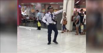 Dancing Mall Cop Entertains Shoppers