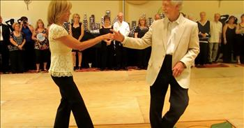 Senior Couple On Dance Floor Pull Off Flawless Routine