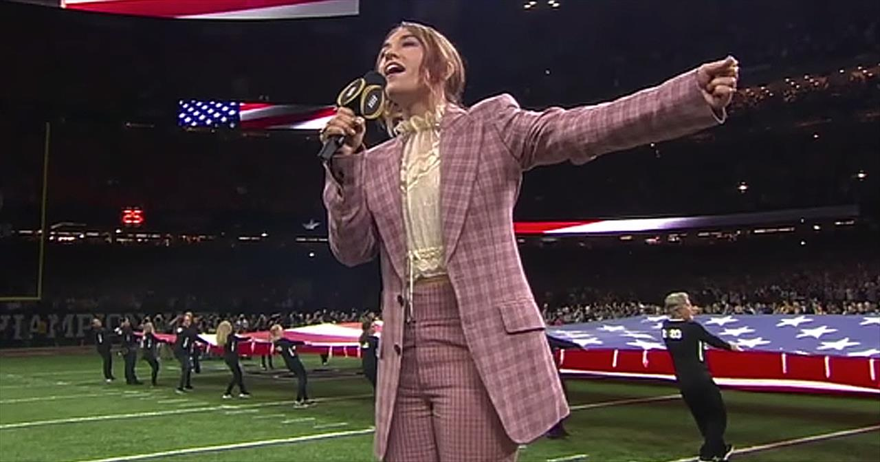 Lauren Daigle Sings 'The National Anthem' At Championship Football Game