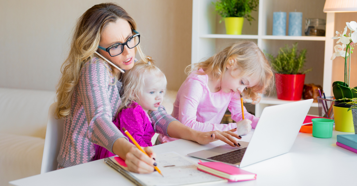 stressed busy mom with kids