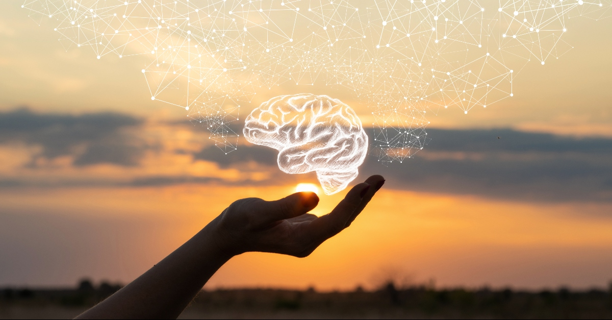 A hand holding up a sketch of a brain with a sunset background