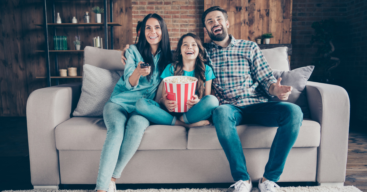 A family watching TV, streaming is up by 300 on Netflix and Disney+