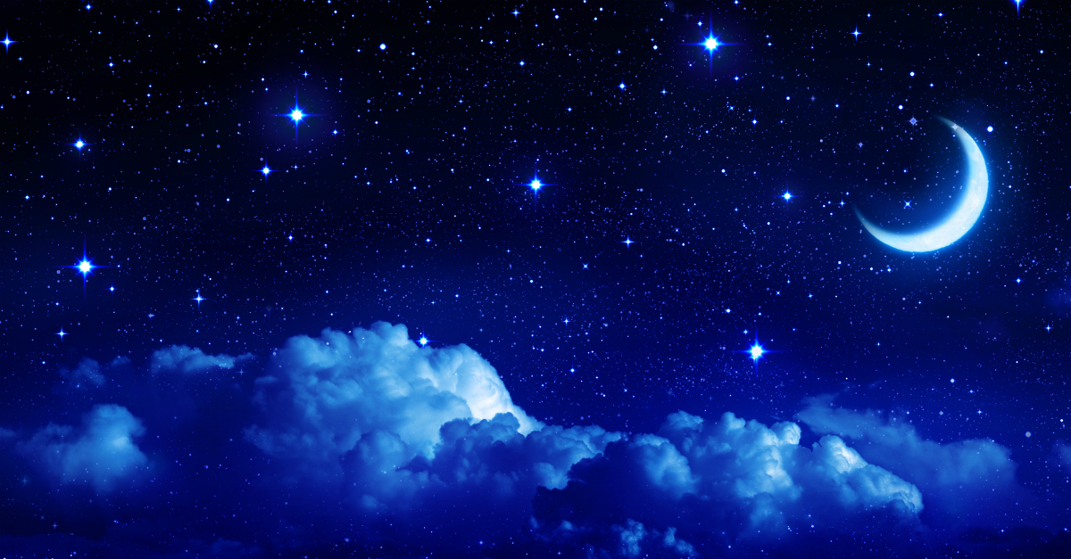 starry night sky with clouds anad crescent moon sleep dream