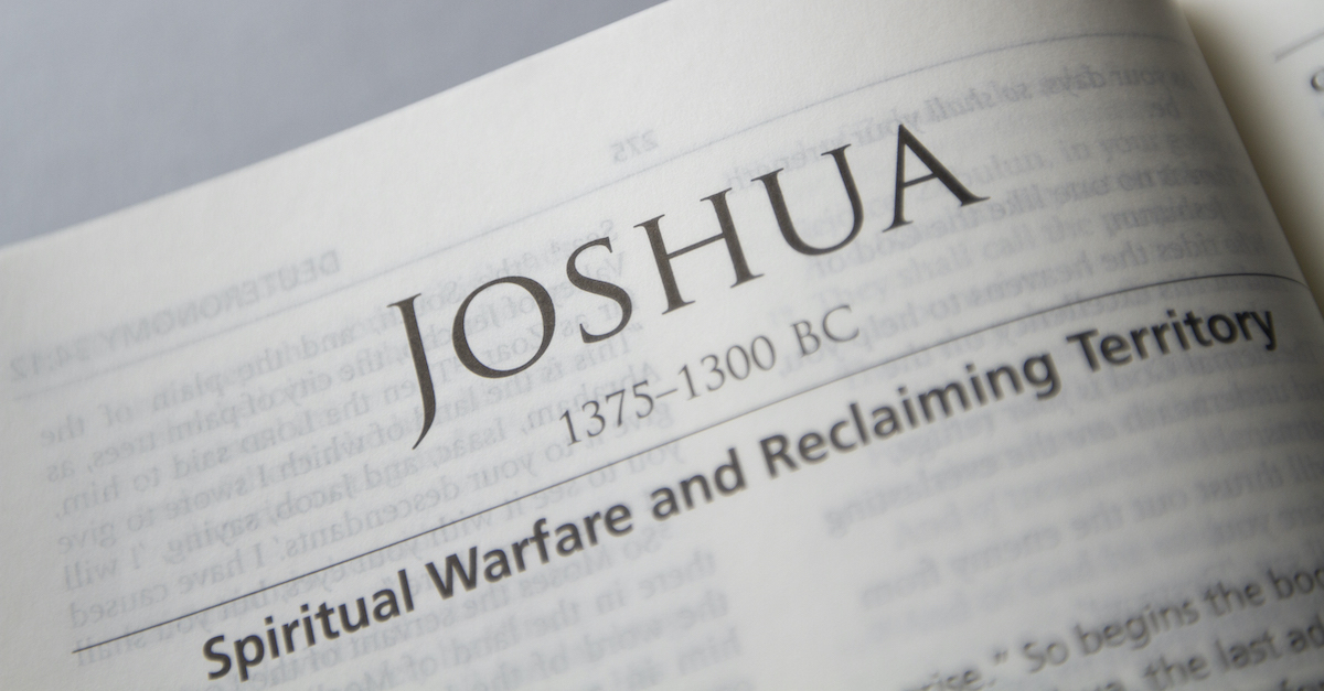 Open Bible to book of Joshua, Joshua summary
