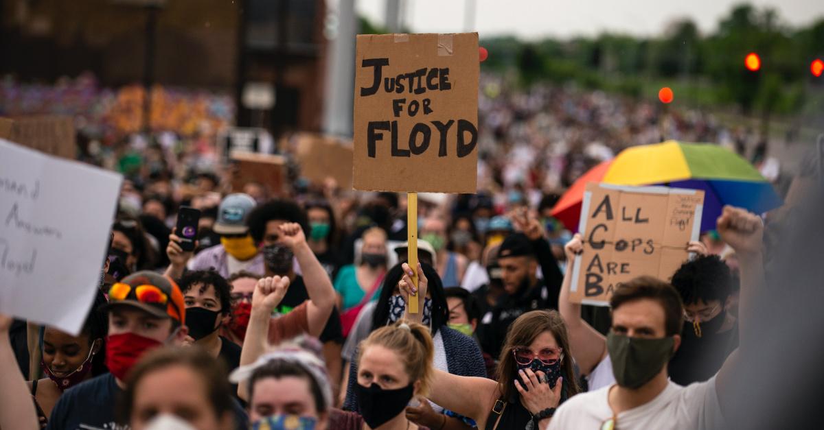 Justice for Floyd sign, George Floyd dies while in custody