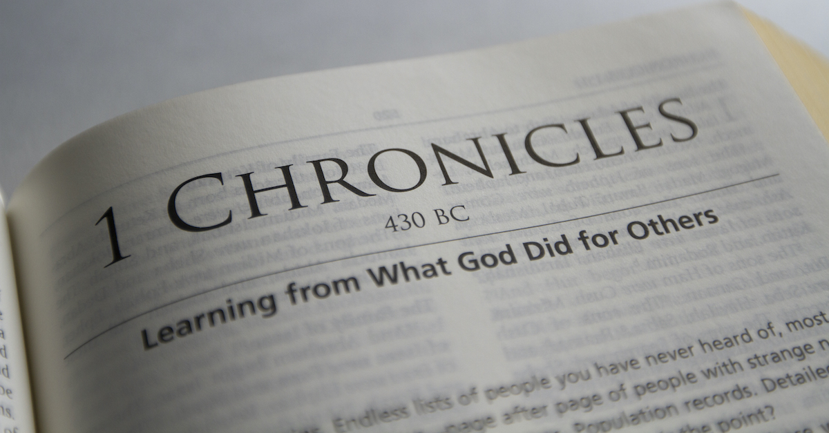 Bible open to 1 Chronicles, 1 Chronicles summary