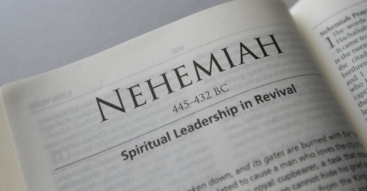 Bible open to Book of Nehemiah